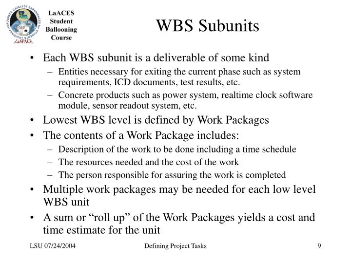 WBS Subunits