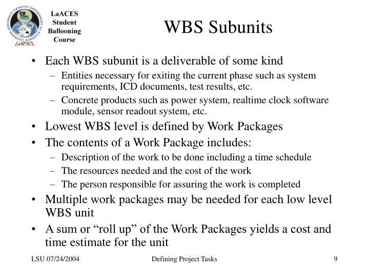 WBS Subunits