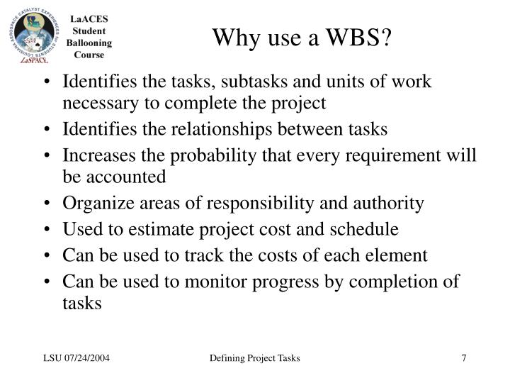 Why use a WBS?