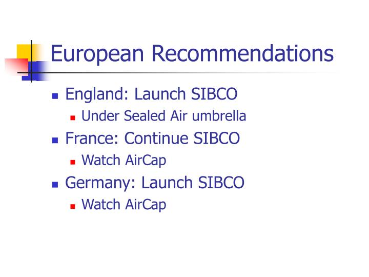 European Recommendations