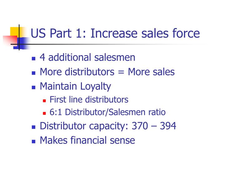 US Part 1: Increase sales force