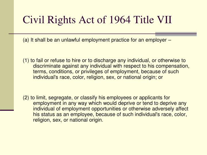 Civil Rights Act of 1964 Title VII