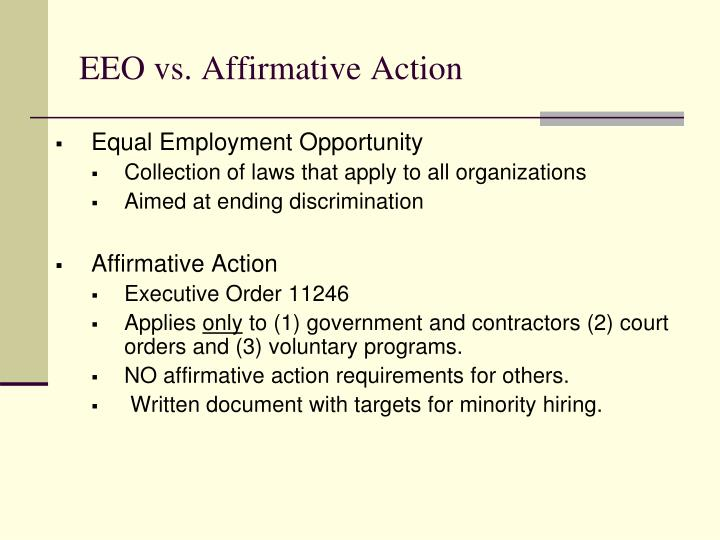 EEO vs. Affirmative Action