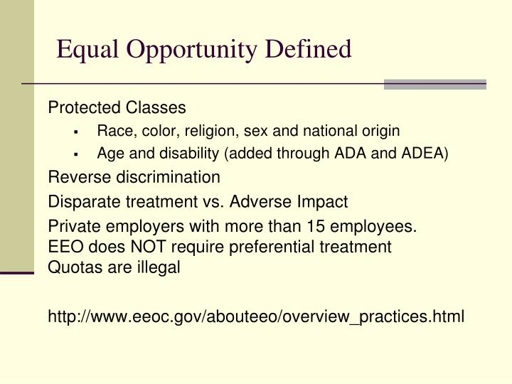 Equal Opportunity Defined