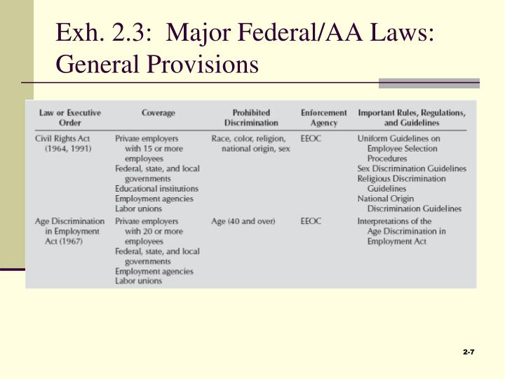 Exh. 2.3:  Major Federal/AA Laws:  General Provisions