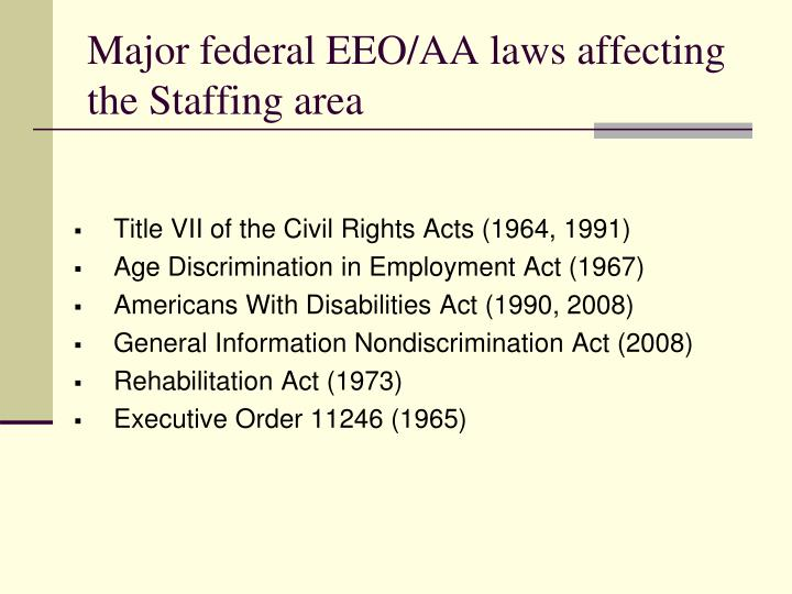 Major federal EEO/AA laws affecting the Staffing area