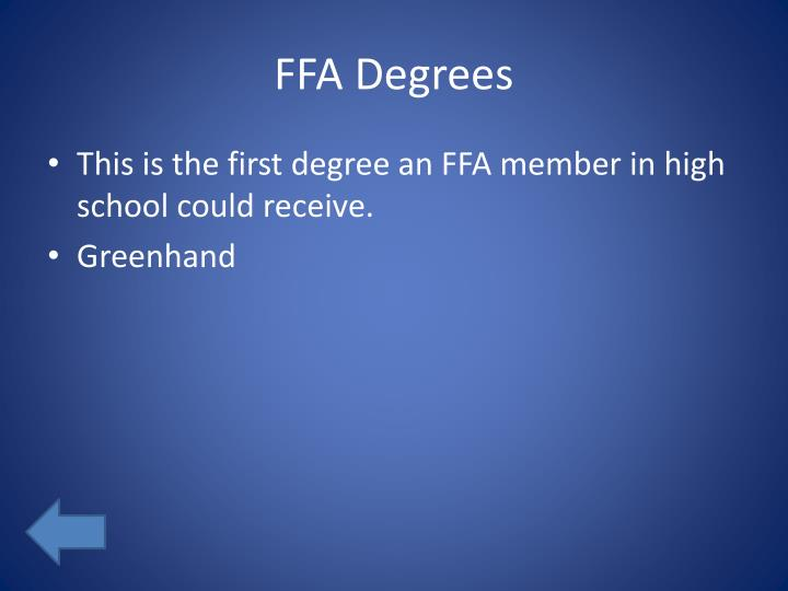 FFA Degrees