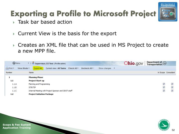 Exporting a Profile to Microsoft Project