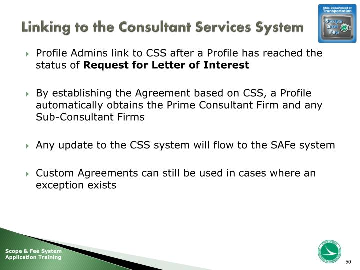 Linking to the Consultant Services System