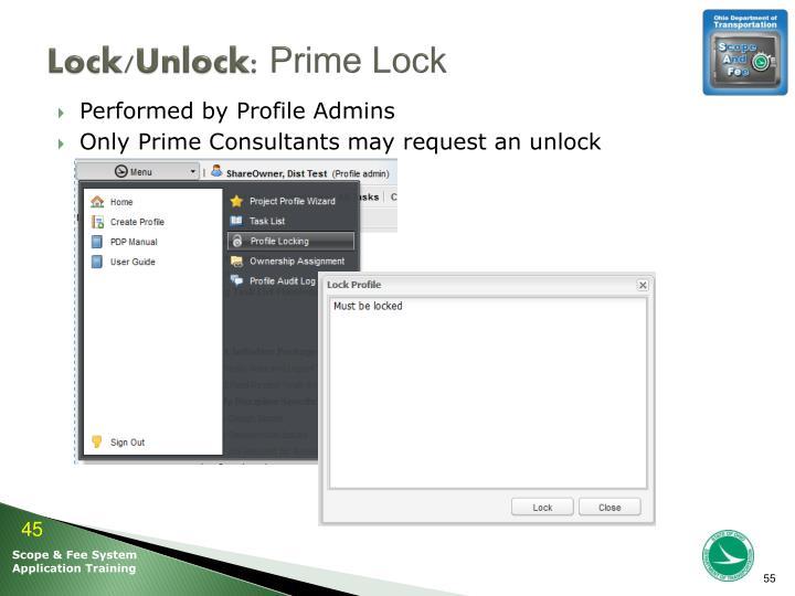 Lock/Unlock: