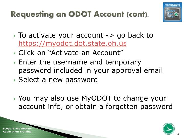 Requesting an ODOT Account (