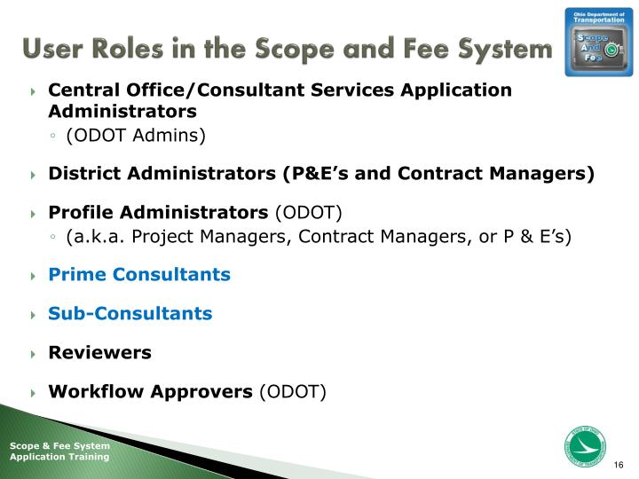 User Roles in the Scope and Fee System
