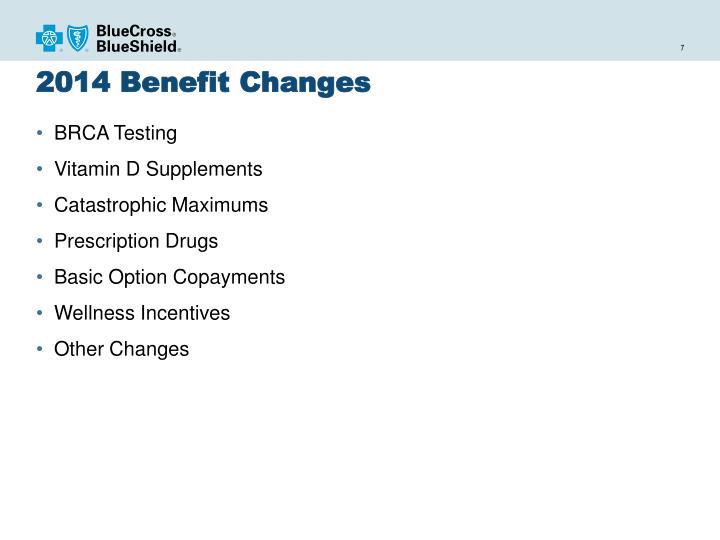 2014 Benefit Changes