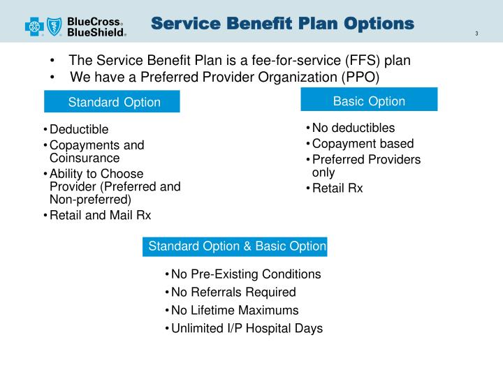 Service benefit plan options