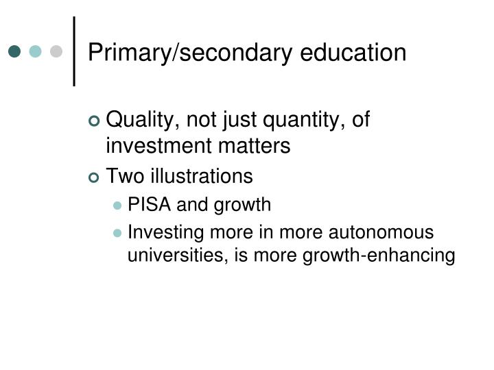 Primary/secondary education