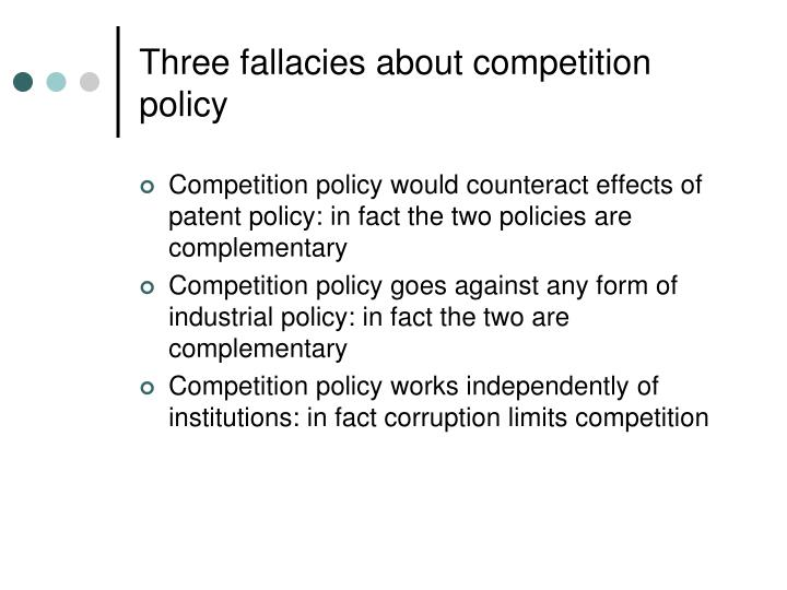 Three fallacies about competition policy