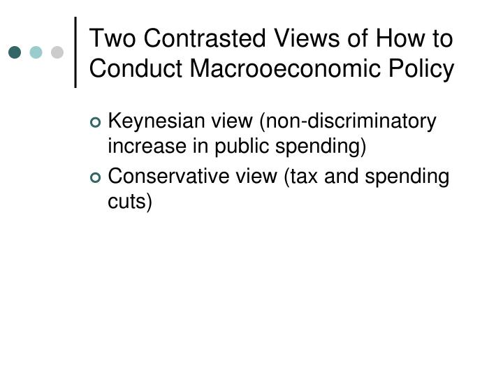 Two Contrasted Views of How to Conduct Macrooeconomic Policy
