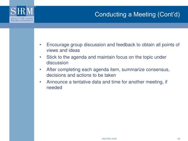 Conducting a Meeting (Cont'd)