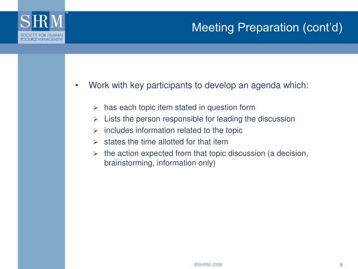 Meeting Preparation (cont'd)
