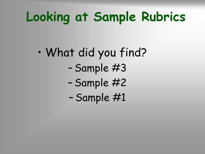 Looking at Sample Rubrics