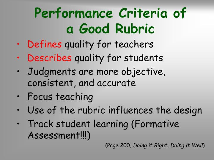 Performance Criteria of        a Good Rubric