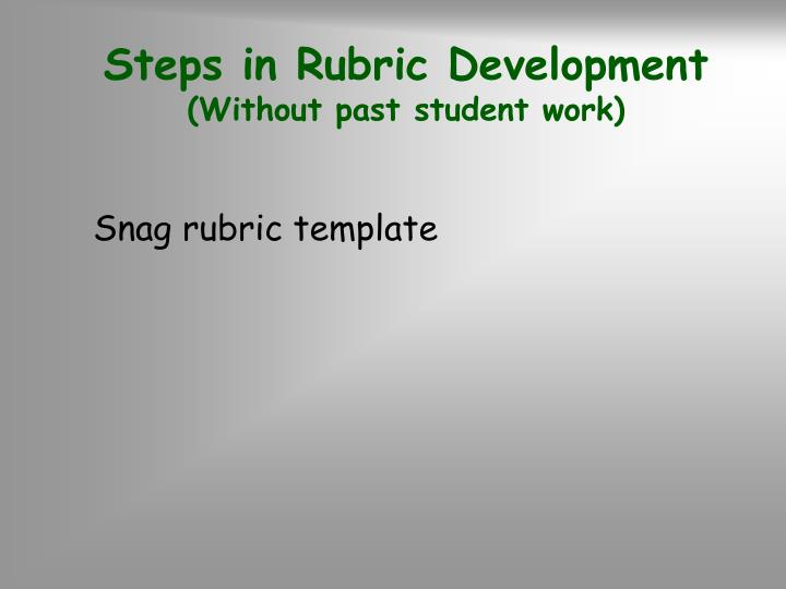 Steps in Rubric Development