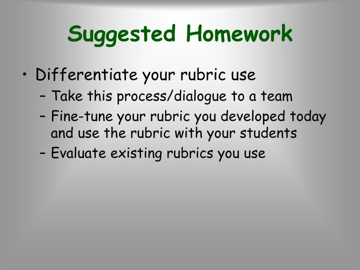 Suggested Homework