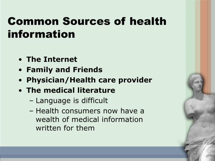 Common Sources of health information