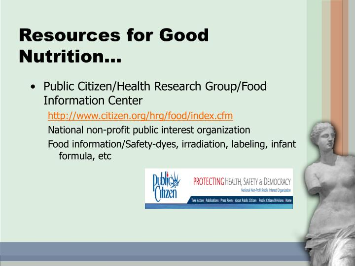 Resources for Good Nutrition…