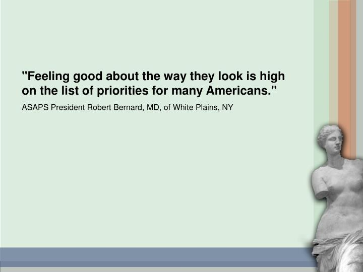 """Feeling good about the way they look is high on the list of priorities for many Americans."""