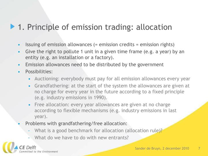 1. Principle of emission trading: allocation