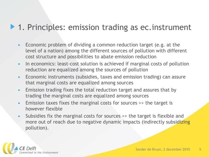 1. Principles: emission trading as ec.instrument