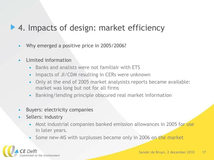 4. Impacts of design: market efficiency