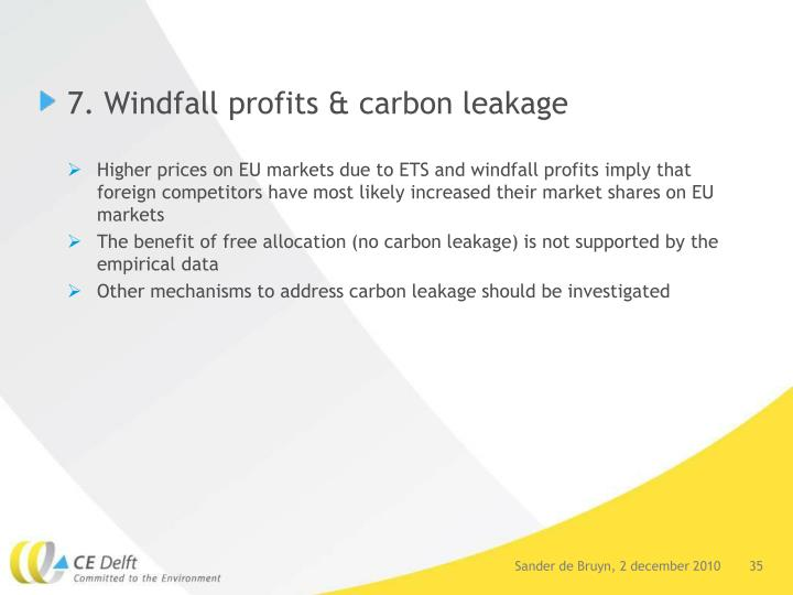7. Windfall profits & carbon leakage