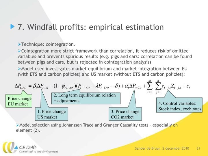 7. Windfall profits: empirical estimation
