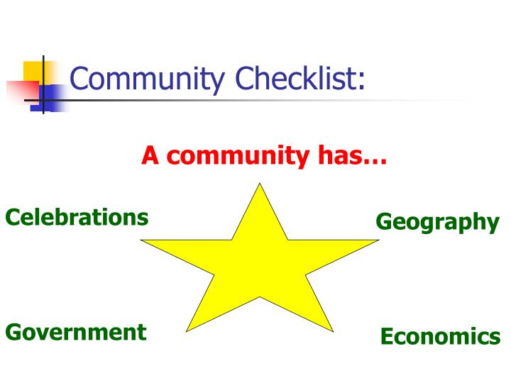 Community Checklist: