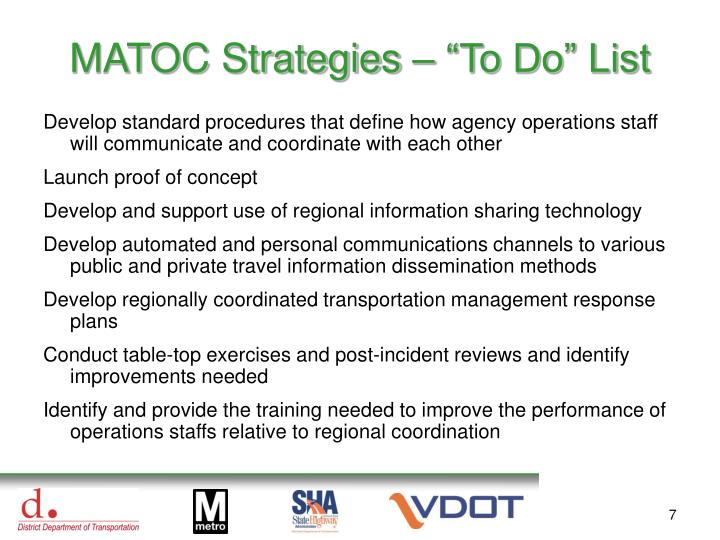"MATOC Strategies – ""To Do"" List"