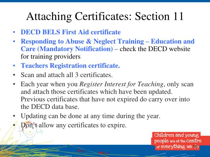 Attaching Certificates: Section 11