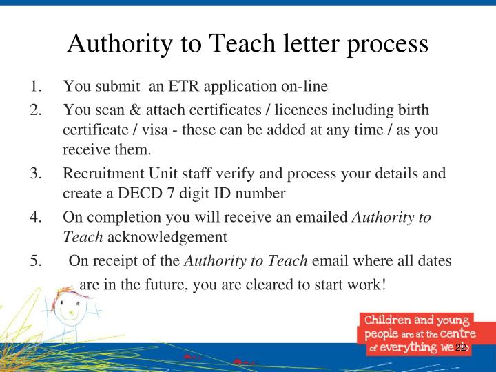 Authority to Teach letter process