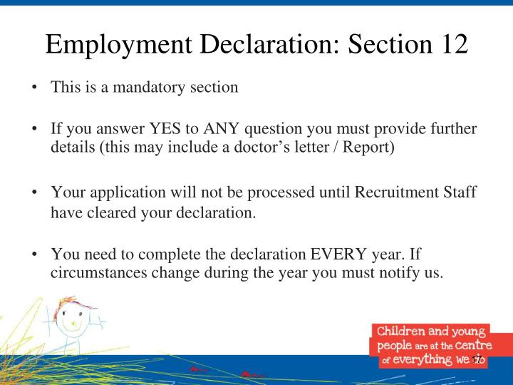 Employment Declaration: Section 12