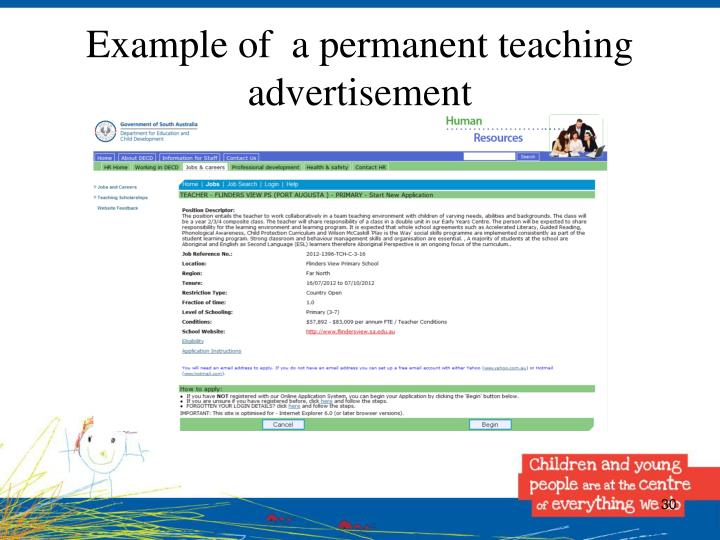 Example of  a permanent teaching advertisement