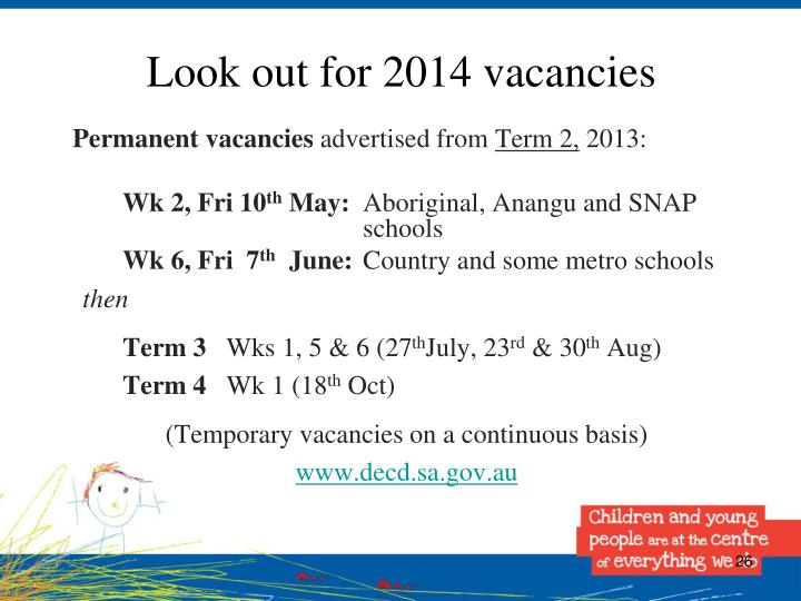 Look out for 2014 vacancies