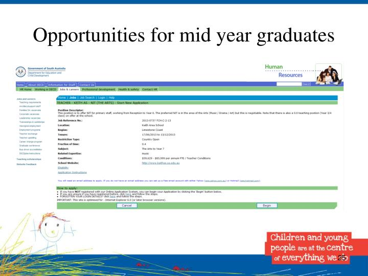 Opportunities for mid year graduates