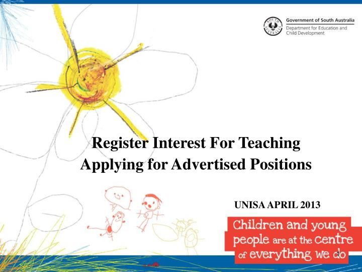 Register Interest For Teaching