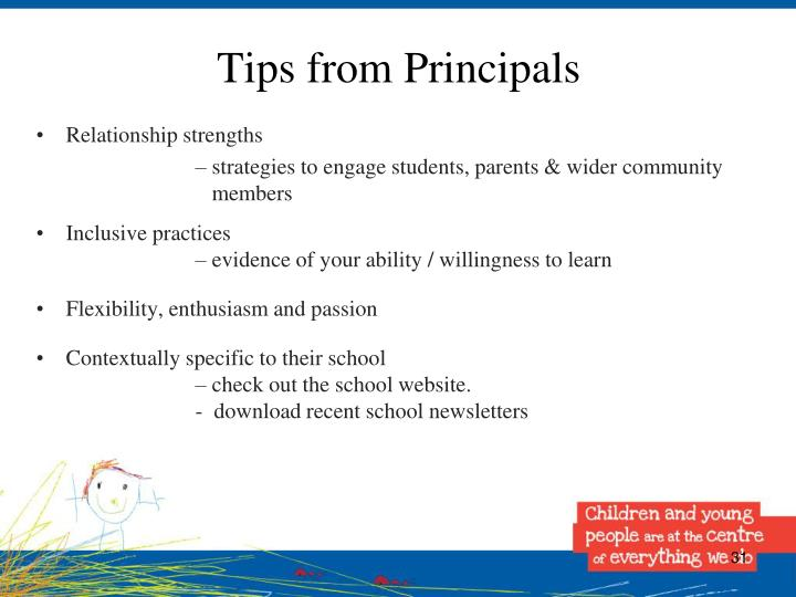 Tips from Principals