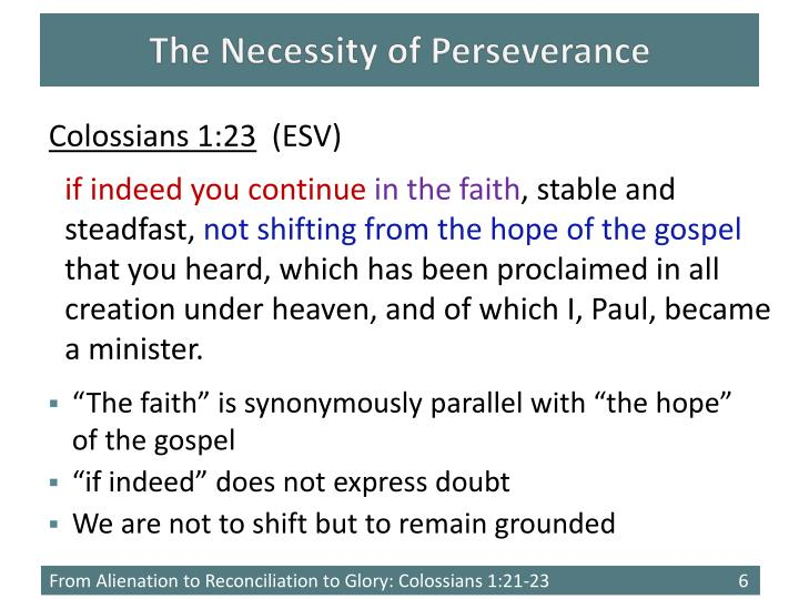The Necessity of Perseverance