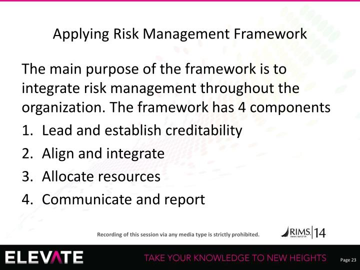 Applying Risk Management Framework