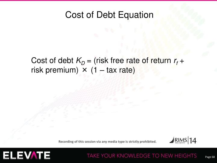 Cost of Debt Equation