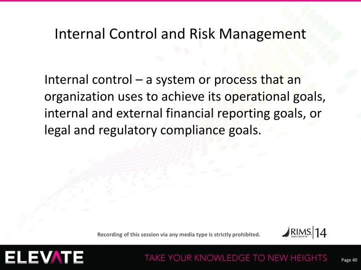 Internal Control and Risk Management