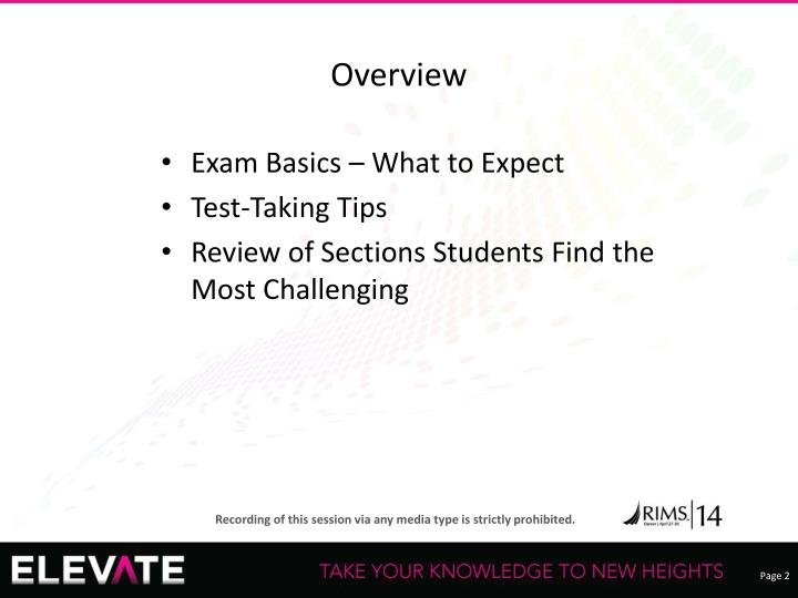 Exam Basics – What to Expect